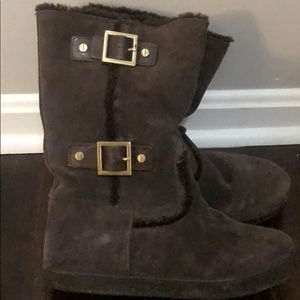 Tory Burch Shearling Buckle Boots